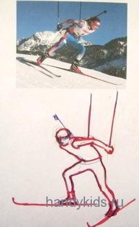 Биатлонист бежит на лыжах