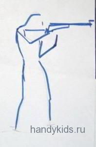Биатлонист прицеливается  рисунок