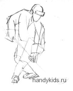 Хоккеист -рисунок карандашом
