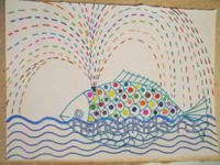 Раскраска-штриховка Рыба-Кит