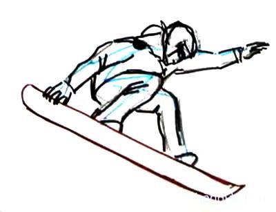 Урок рисования сноубордиста