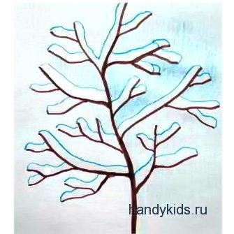Раскраска Дерево зимой