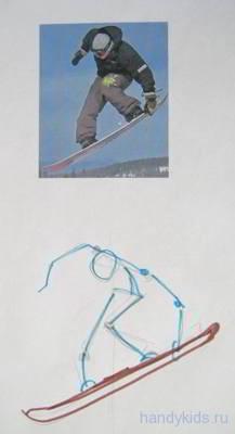 Как нарисовать сноубордиста