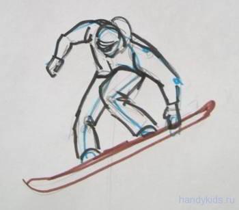 Как рисовать сноубордиста