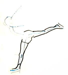 Поэтапный рисунок фигуристки
