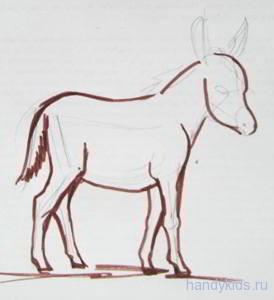 Как рисовать ослика