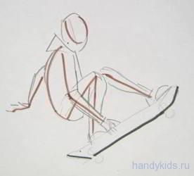 Как рисовать скейтбордиста