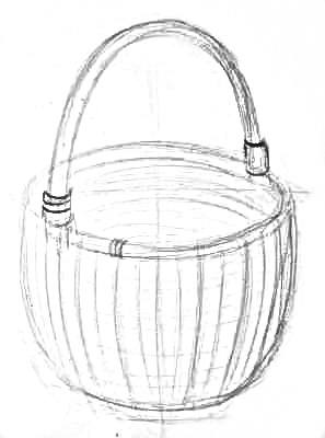 Как нарисовать корзину с подснежниками