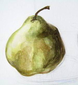 нарисуем грушу акварелью