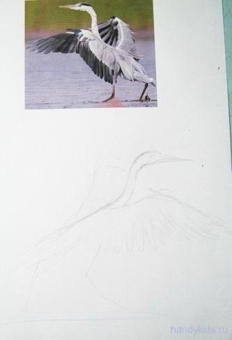 Учимся рисовать цаплю