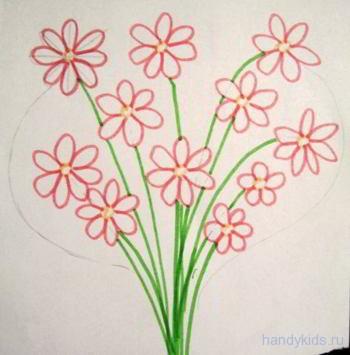 Как нарисовать раскраску букет
