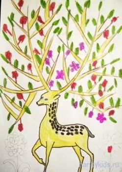 Раскраска олень