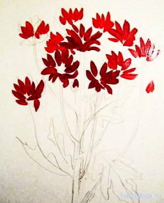 Рисуем хризантемы акварелью поэтапно