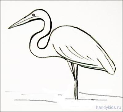 Как нарисовать цаплю на болоте | Handykids.