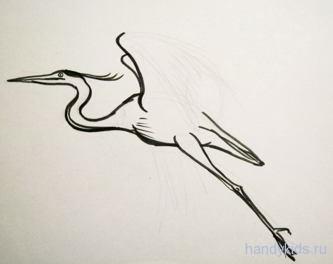 Урок рисования летящей цапли