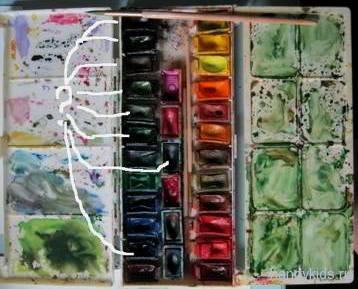Набор с акварельными красками.