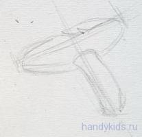 Рисуем гриб карандашом.