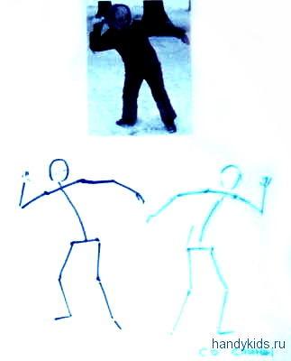 Как нарисовать  игру в снежки