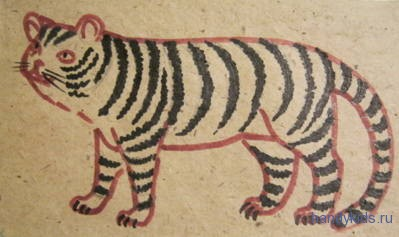 Нарисуем полосы на шкуре тигра
