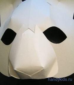 Вклеиваем нос маски кота