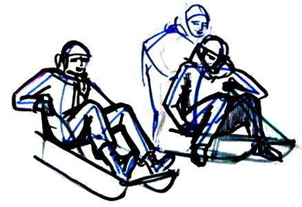 Дети катаются на санках рисунок
