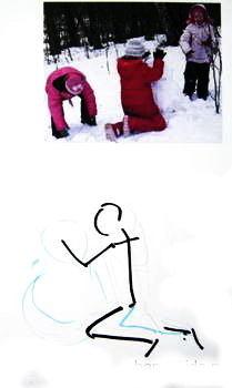 Рисуем дети лепят снеговика