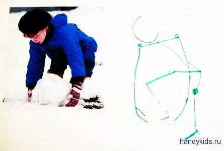 Лепка снеговика рисунок 17