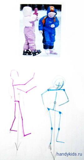Нарисуем детей на коньках