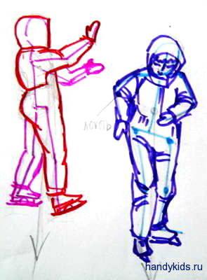 Рисунок дети катаются на коньках