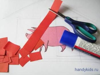 Полосы бумаги разрезаем на прямоугольники
