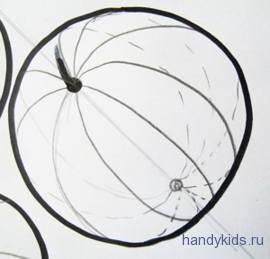 Как нарисовать полосы на арбузе