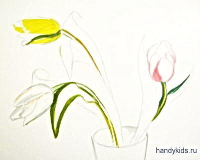 Рисуем тюльпаны поэтапно