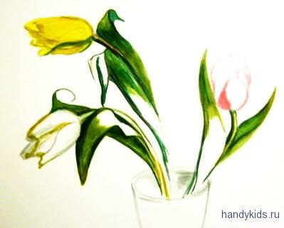 Нарисуем цветы тюльпаны