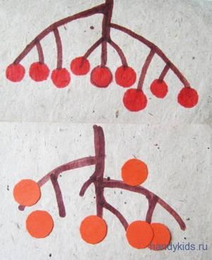 Гроздь рябины -рисунок и аппликация