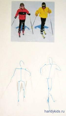 Рисуем детей на лыжах