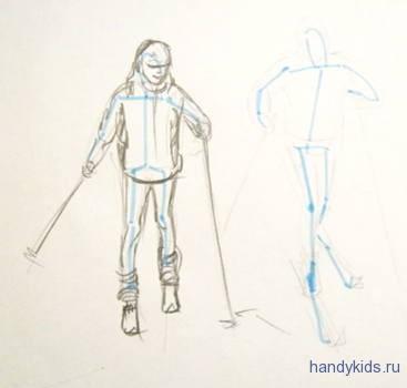 Как нарисовать дети катаются на  лыжах