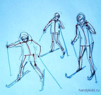 Дети катаются на лыжах  рисунок