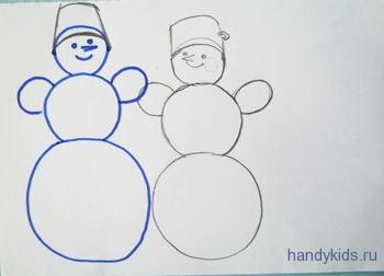 Рисунок Снеговики