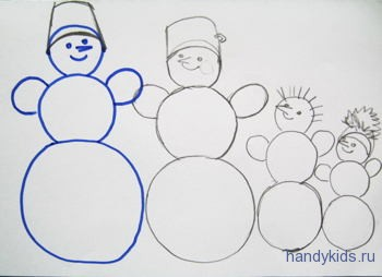 Рисунок  про снеговиков