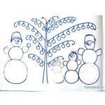 Аппликация Снеговики