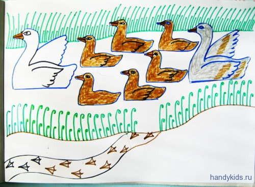 Раскраска Гуси в реке