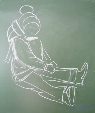 рисунок -ребёнок в зимней одежде