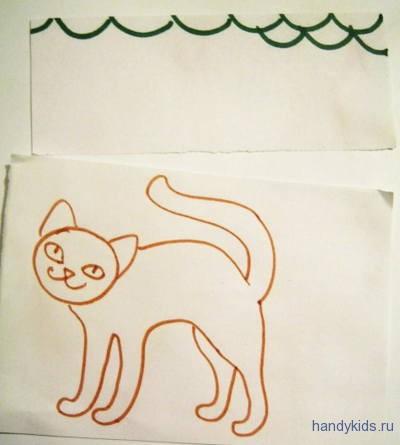 Раскраска-шаблон для аппликации кошка
