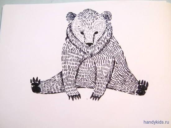 Раскраска лубочный медведь