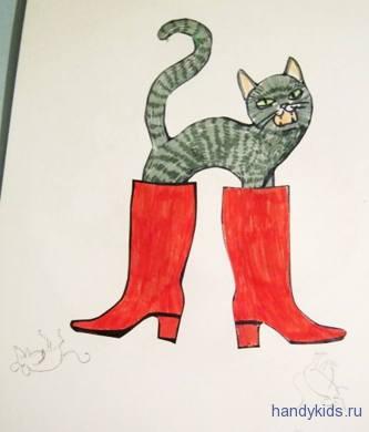 аппликация кот в сапогах