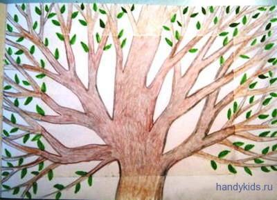 Раскраска весенноее дерево