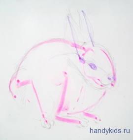 Составим схему рисования зайчонка