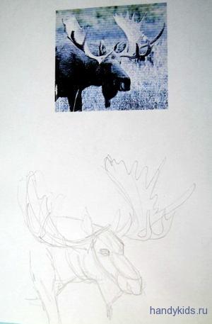 Как нарисовать рога лося
