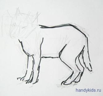 Как рисовать волчёнка