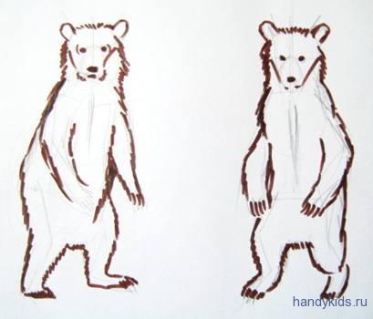 Как нарисовать бурого медвежонка